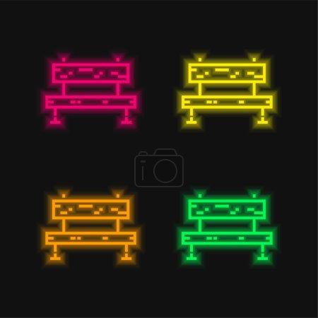Illustration pour Banc quatre couleurs brillant icône vectorielle néon - image libre de droit