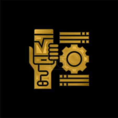 Addiction icône métallique plaqué or ou vecteur de logo
