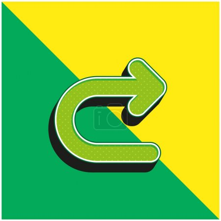 Illustration for Arrow Turning To Right Green and yellow modern 3d vector icon logo - Royalty Free Image