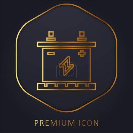 Illustration pour Batterie ligne dorée logo premium ou icône - image libre de droit