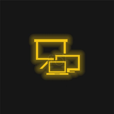 Photo for All Screens Sizes Symbol yellow glowing neon icon - Royalty Free Image