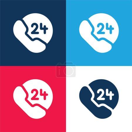 Illustration pour 24 Heures bleu et rouge quatre couleurs minimum jeu d'icônes - image libre de droit