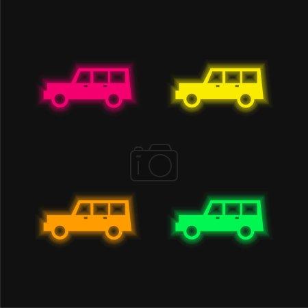 Illustration pour All Terrain Véhicule quatre couleurs brillant icône vectorielle néon - image libre de droit