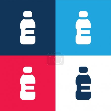 Photo for Bottle blue and red four color minimal icon set - Royalty Free Image