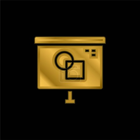 Illustration for Art And Design gold plated metalic icon or logo vector - Royalty Free Image