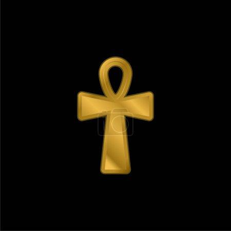 Photo pour Ankh Croix plaqué or icône métallique ou vecteur de logo - image libre de droit