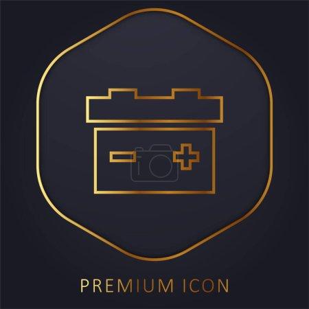 Illustration for Battery golden line premium logo or icon - Royalty Free Image
