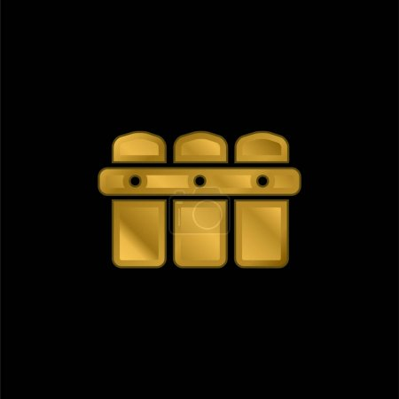 Black Fence gold plated metalic icon or logo vector