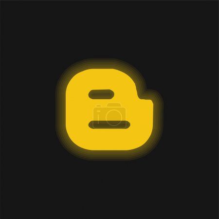 Illustration for Blogger Logotype yellow glowing neon icon - Royalty Free Image
