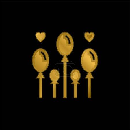 Balloon gold plated metalic icon or logo vector