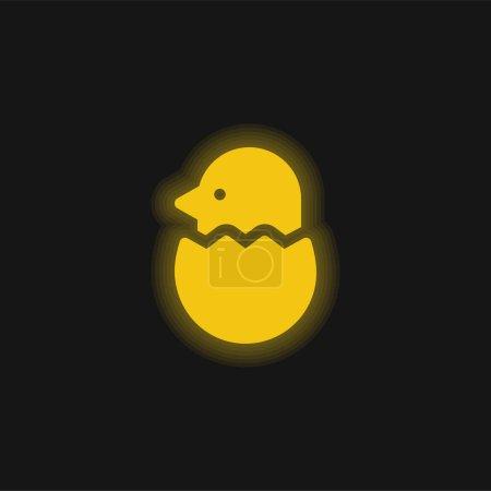 Illustration pour Oiseau jaune brillant icône néon - image libre de droit