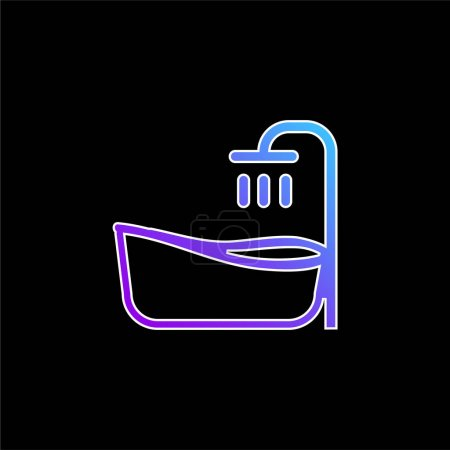 Baignoire bleu dégradé vecteur icône