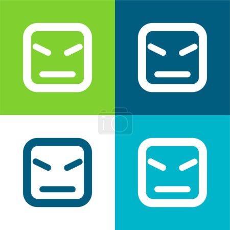 Illustration pour Visage en colère de forme carrée et lignes droites Ensemble d'icône minimal plat de quatre couleurs - image libre de droit
