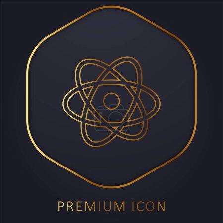 Atom golden line premium logo or icon