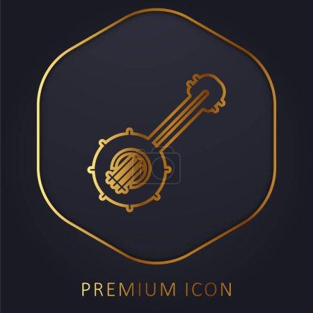 Banjo golden line premium logo or icon