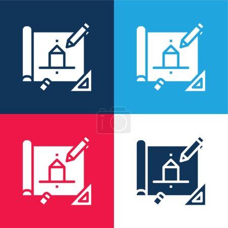 Architektur blau und rot vier Farben minimalen Symbolsatz