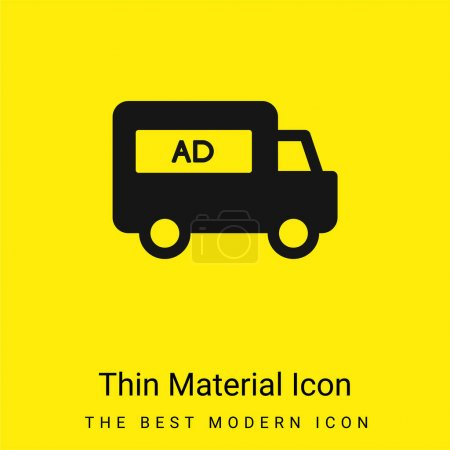 Illustration for AD Van minimal bright yellow material icon - Royalty Free Image