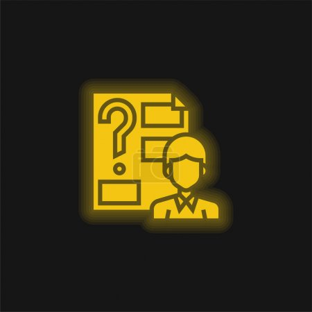 Answer yellow glowing neon icon