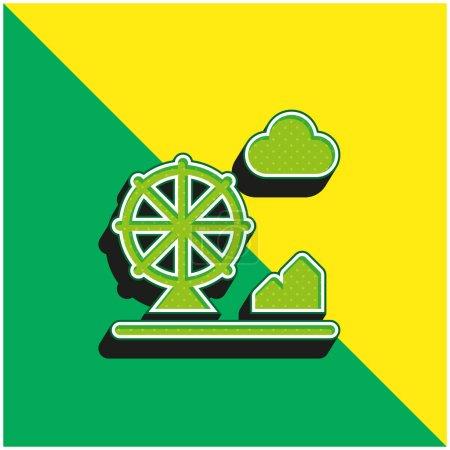 Amusement Park Green and yellow modern 3d vector icon logo
