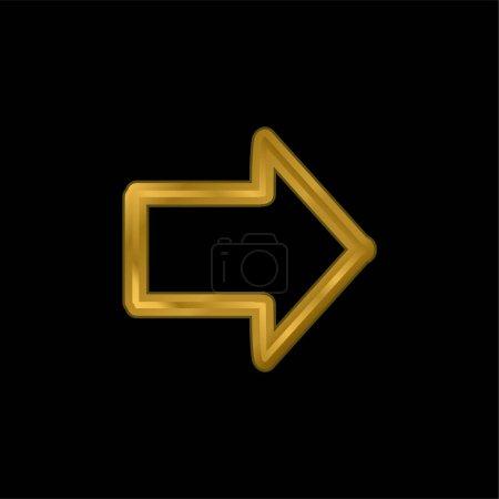 Illustration pour Flèche pointant vers la droite Dessiné Symbole plaqué or icône métallique ou logo vecteur - image libre de droit