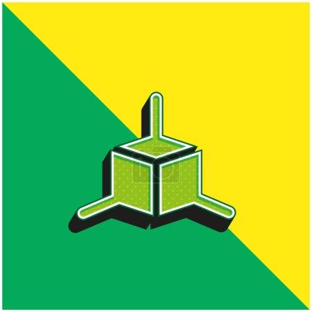 Modelado 3d verde y amarillo moderno vector 3d icono logotipo