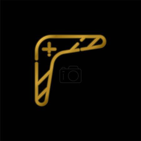 Illustration pour Boomerang plaqué or icône métallique ou logo vecteur - image libre de droit