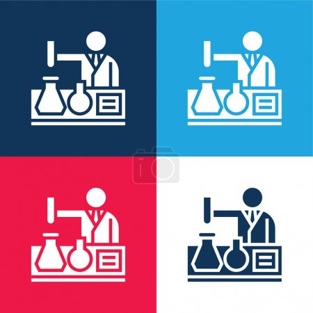 Illustration for Bioengineering blue and red four color minimal icon set - Royalty Free Image