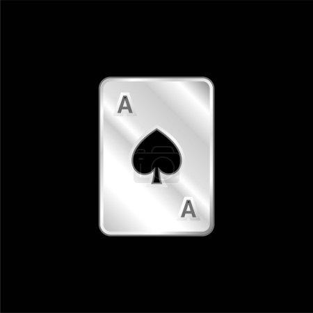 Illustration pour Ace Of Spades icône métallique argentée - image libre de droit