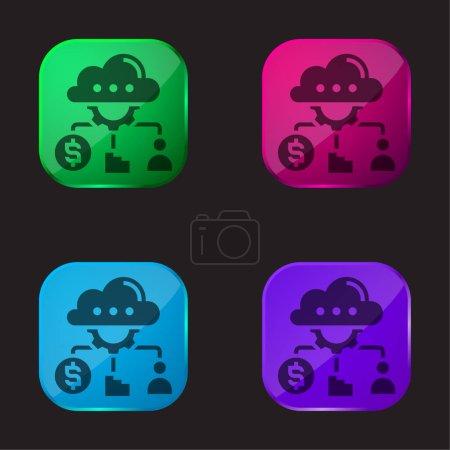 Illustration pour Analyse icône de bouton en verre de quatre couleurs - image libre de droit