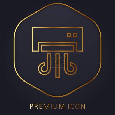 Photo pour Climatiseur ligne dorée logo premium ou icône - image libre de droit