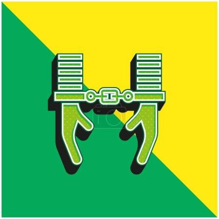 Photo pour Arrestation Logo vectoriel 3D moderne vert et jaune - image libre de droit