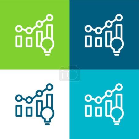 Illustration for Analytics Flat four color minimal icon set - Royalty Free Image