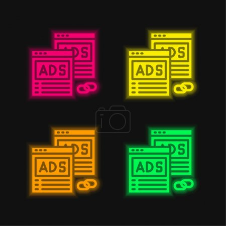 Illustration for Advertising four color glowing neon vector icon - Royalty Free Image