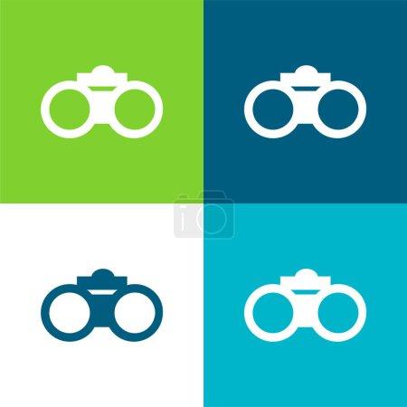 Prismáticos Plano de cuatro colores mínimo icono conjunto