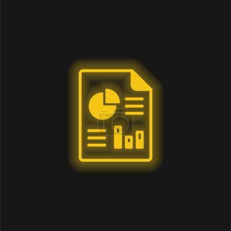 Photo pour Analytique jaune brillant icône néon - image libre de droit