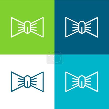 Illustration pour Arc plat quatre couleurs minimum jeu d'icônes - image libre de droit