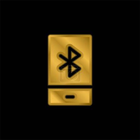 Illustration pour Icône métallique plaqué or Bluetooth ou vecteur de logo - image libre de droit