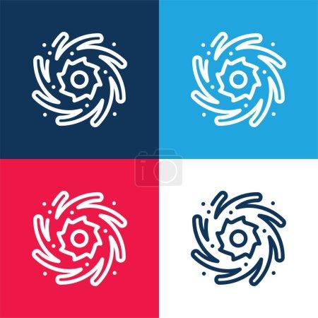Photo pour Trou noir bleu et rouge ensemble d'icônes minimales de quatre couleurs - image libre de droit