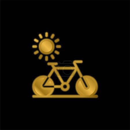 Bike gold plated metalic icon or logo vector