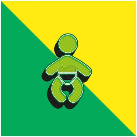 Illustration for Baby Wearing A Diaper Green and yellow modern 3d vector icon logo - Royalty Free Image