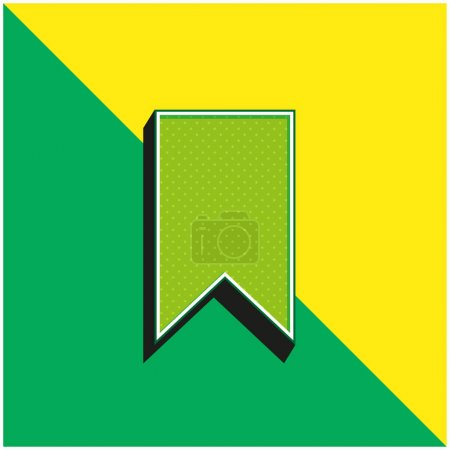 Illustration for Bookmark Green and yellow modern 3d vector icon logo - Royalty Free Image