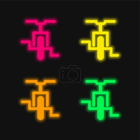 Illustration for Bicycle four color glowing neon vector icon - Royalty Free Image