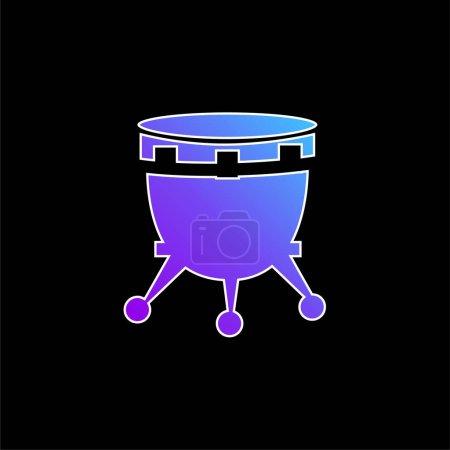 Illustration pour Tambour africain avec support bleu dégradé icône vectorielle - image libre de droit