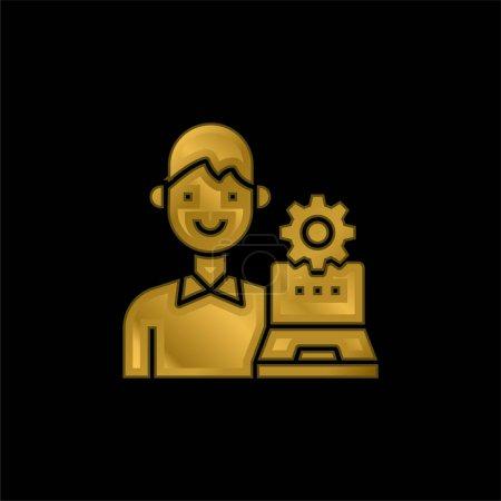 Illustration pour Admin plaqué or icône métallique ou logo vecteur - image libre de droit