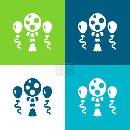 Illustration pour Balloons Ensemble d'icônes minimal plat quatre couleurs - image libre de droit