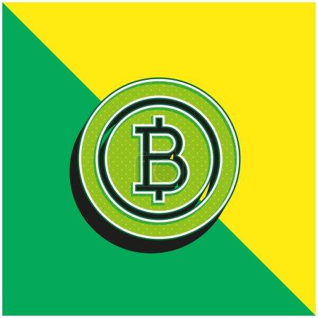 Illustration pour Bitcoin vert et jaune moderne logo icône vectorielle 3d - image libre de droit