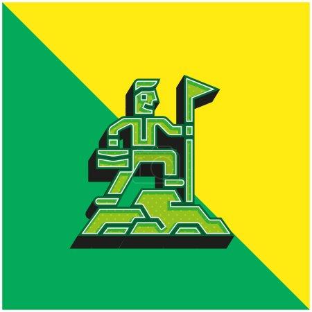 Illustration pour Réalisation Logo vectoriel 3D moderne vert et jaune - image libre de droit