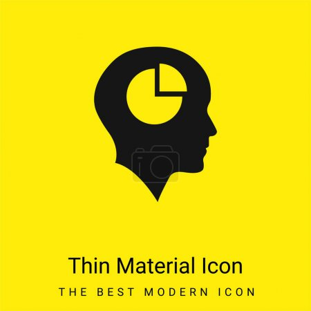 Illustration for Bald Head With Pie Graphic Inside minimal bright yellow material icon - Royalty Free Image