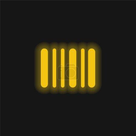 Illustration pour Code à barres jaune brillant icône néon - image libre de droit
