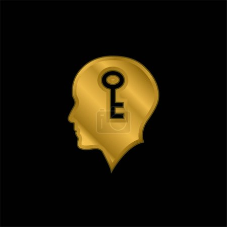 Illustration for Bald Head With A Key Inside gold plated metalic icon or logo vector - Royalty Free Image